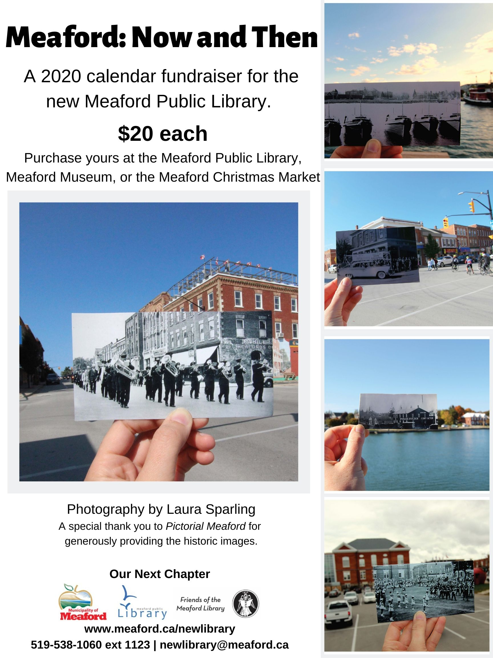 Photos of modern day Meaford with an image of past Meaford layred in front