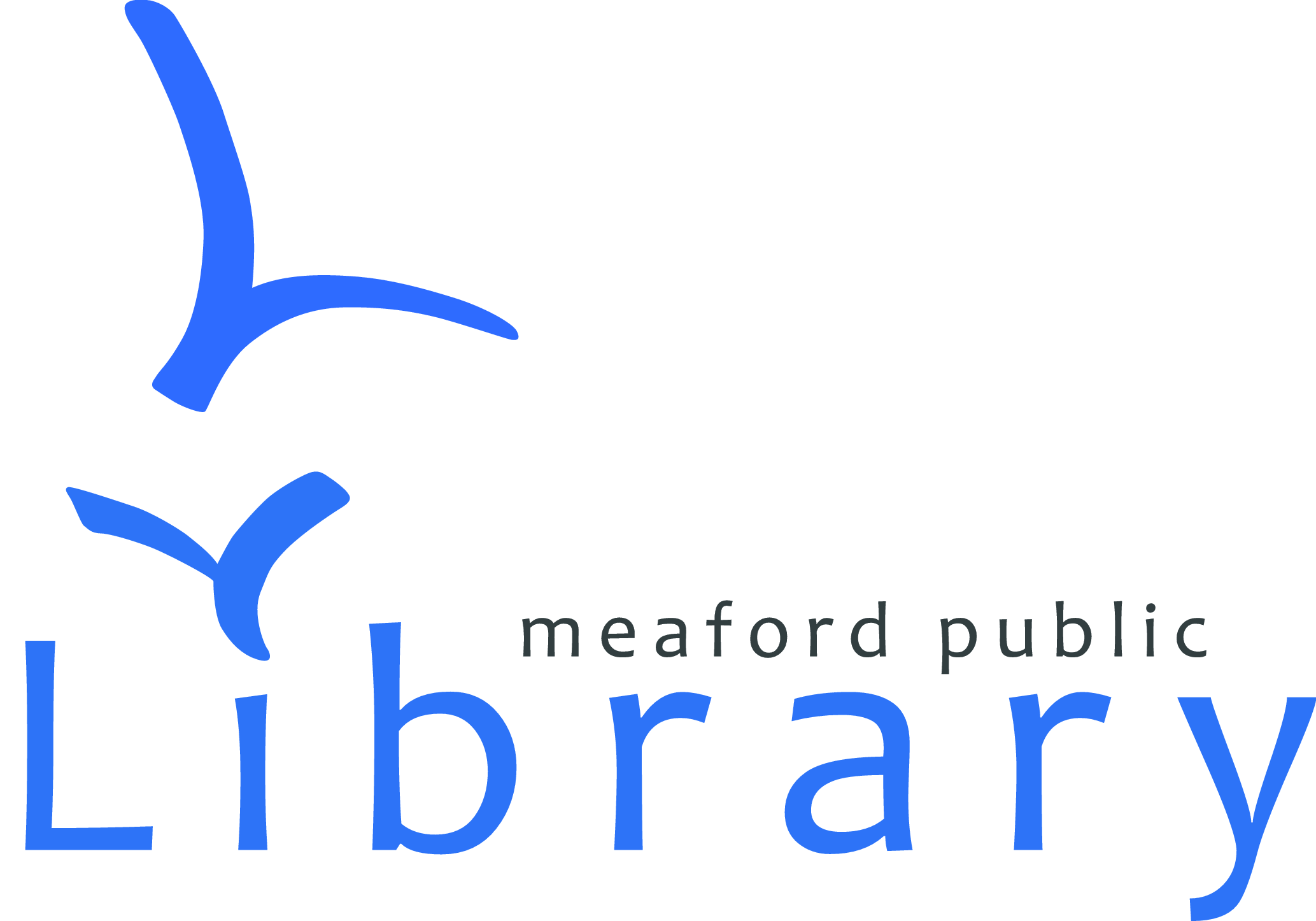 "Meaford Public Library written in blue letters with two ""m"" birds above the i in library"