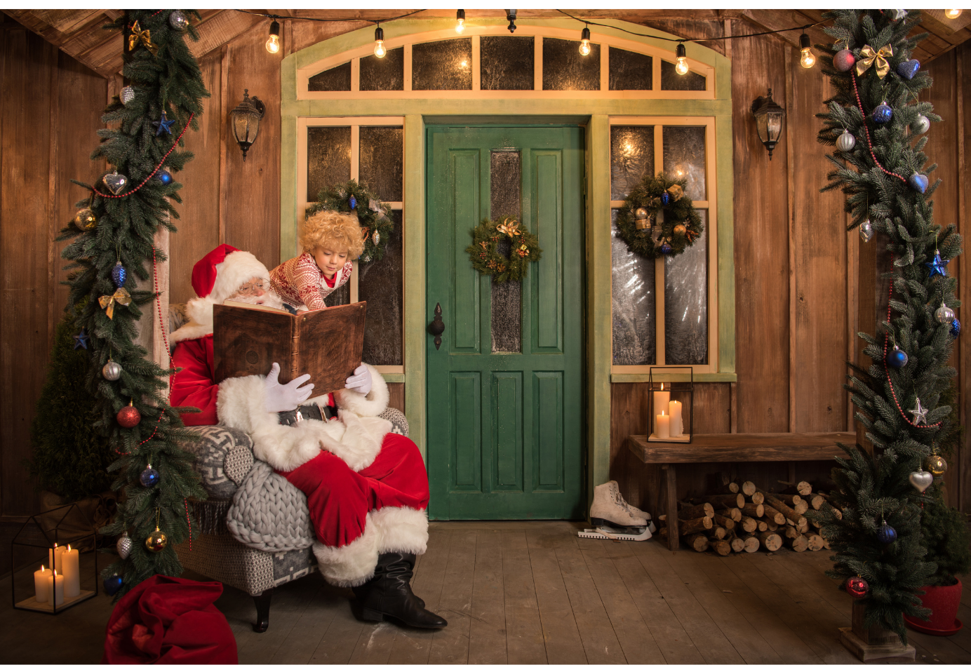 Santa reading a story to a child outside