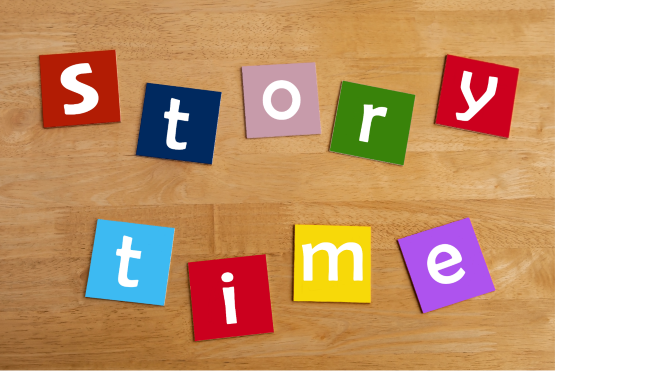 image of story time words