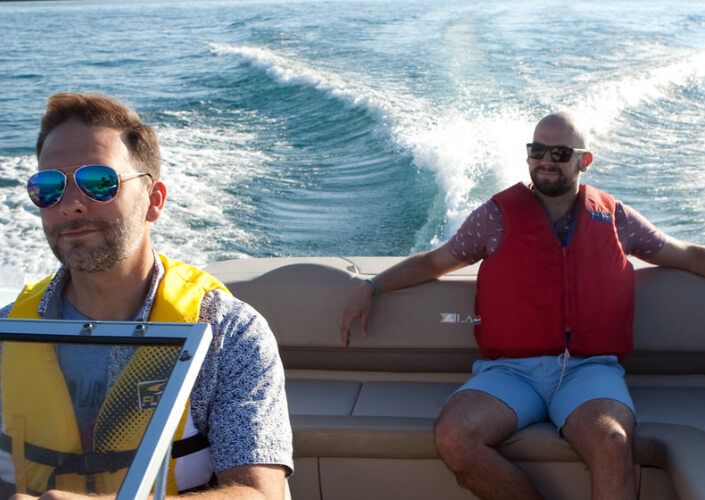 Two men boating